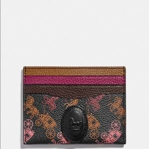 COACH Card Case W/Horse & Carriage Print